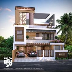 Rendered Cottage Exterior - Tropical Cafe Exterior - Home Exterior Lighting - Exterior Stone Rustic - Modern Exterior House Designs, Modern House Facades, Bungalow Exterior, Dream House Exterior, Modern House Design, Exterior Design, Cafe Exterior, Exterior Signage, Exterior Stairs