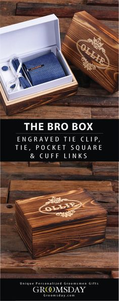 The ultimate Bro Set comes with a personalized tie clip, tie, pocket square, and matching cufflinks all wrapped up in a beautifully engraved keepsake gift box. This is the perfect groomsmen gift for your bros, or a personalized gift set for men for any occasion. Check out our huge selection of Groomsmen Gifts, Gifts for Men & More! Share & Repin! Only from Groomsday || Groomsday.com #tie #cufflinks #tieclip #groom #giftideas #giftsforhim #menaccessories #groomsmen #personalizedgifts