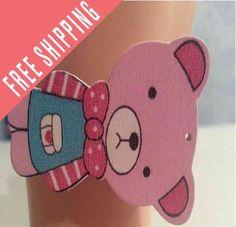 Kawaii Bear bracelet  - Bonus free bracelet colors you choose