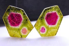 Gemstones for creative minds. Fancy natural Tourmaline pair of slices weighing 48.850 cts, from Madagascar  — now what can you do with it?