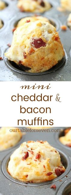 Mini Cheddar Cheese and Bacon Muffins from Table for Seven - - These mini muffins are perfect for a snack or a side to your favorite dinner! Zucchini Muffins, Cheese And Bacon Muffins, Muffins Blueberry, Mini Muffins, Almond Muffins, Savory Muffins, Queso Cheddar, Cheddar Cheese, Breakfast Dishes
