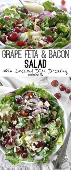 Grape Feta and Bacon Salad with Creamy Dijon Dressing This Grape Feta and Bacon Salad is gourmet made simple and affordable BudgetBytes Bacon Salad, Feta Salad, Salad Bar, Side Salad, Soup And Salad, Kale Salads, Quinoa Salad, Gourmet Salad, Comida India