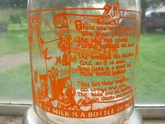 fabulous nursery rhyme on back: Old lady in a shoe now lives in a large milk bottle where all her children are pink and rosy Old Milk Bottles, Milk Box, Nursery Rhymes, Boxes, Shoe, Canning, Antique, Cream, Lady