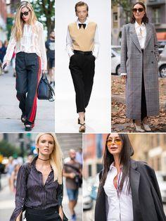 Maskuline Anzugschnitte und Hemden stehen auch den femininen Wesen ausgezeichnet - auf der Straße und auch auf den Runways werden Herrenanzüge und Co. aber gerne mit einem sehr weiblichen Accessoire kombiniert - das kann die kleine feine Clutch genauso wie die Pumps sein. Die weite Hose mit dem roten Tuxedo-Stripe (oben links) holen wir uns auch - solange sie noch da ist, denn das gute Stück ist von Zara und kostet knapp 60 Euro!