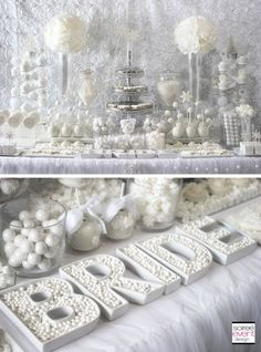 Winter White Bridal Shower Sweets Table – The All White Color Trend , Winter White Bridal Shower Sweets Table by Soiree-EventDesig. featuring this fabulous BRIDE letter dishes by TomKat Studio! Bridal Shower Tables, White Bridal Shower, Unique Bridal Shower, Bridal Shower Decorations, White Wedding Decorations, White Shower, Candy Bar Decoracion, Deco Buffet, Candy Buffet