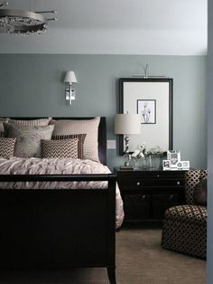 Black furniture/blue walls My favorite color ever. Beach Glass, 1564 by Benjamin Moore -- looks great with Revere Pewter (HC-172).