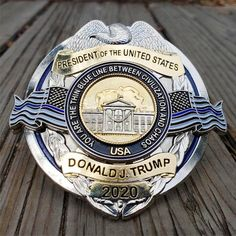 Arrives March Last Run: Full Size Limited Edition Thin Blue Line Trump 2020 White House Metal Badge Thin Blue Line Flag, Thin Blue Lines, Donald Trump Family, Double Clutch, National Police, Hubby Love, Law Enforcement, Bracelet Watch