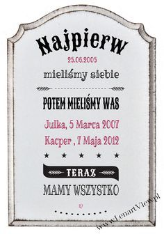 metryka rodzinna, tabliczka z datą ślubu i datą narodzin dzieci Diys Room Decor, Diy Bedroom Decor, Motivation Sentences, Easy Crafts, Diy And Crafts, Decopage, Vintage Labels, Diy For Teens, Kids And Parenting
