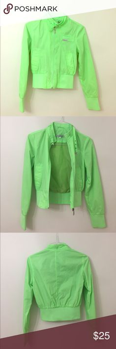 Members Only Neon Green Rain Jacket Sz S Used once. Super cute! Members Only Jackets & Coats