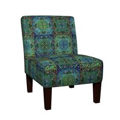 Maran Slipper Chair featuring MANDALA TILE BLUE GREEN MOSS SEAWEED by paysmage | Roostery Home Decor