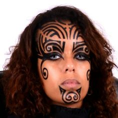 More masculine look for women. Tribal makeup
