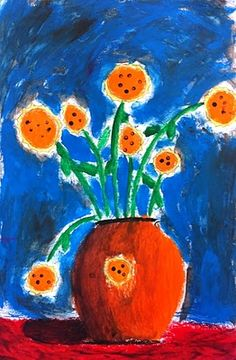 kids' flower art - oil pastel and tempera