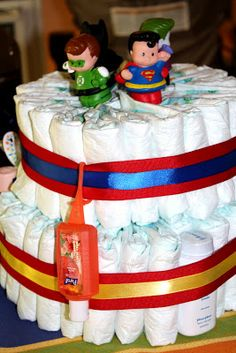 Our Lovely Bungalow: A Super-Hero Themed Baby Shower Baby Shower Parties, Baby Shower Themes, Baby Boy Shower, Baby Shower Gifts, Baby Gifts, Shower Ideas, Baby Showers, Superman Baby Shower, Superhero Baby Shower