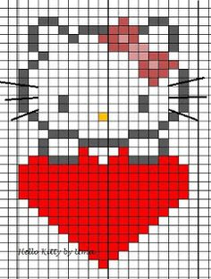 Hello kitty small knitting pattern / knitting chart or for hama beads . Hello kitty small knitting pattern / knitting chart or for hama beads . 17 stitches wide so goes well in very little mit. Mosaic Patterns, Loom Patterns, Beading Patterns, Cross Stitch Patterns, Knitting Charts, Knitting Stitches, Knitting Patterns, Crochet Patterns, Hama Beads