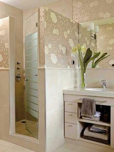 Papel tapiz para baños Decoration, Vanity, Mirror, Furniture, Home Decor, Bathrooms, Wallpapers, Google, Shower Doors