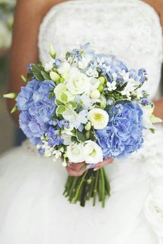 Lovely Bridal Bouquet Arranged With: Blue Delphinium, Blue Jumbo Hydrangea, White Florals, Hypericum