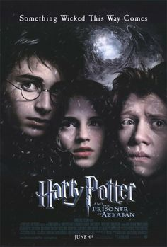 "11x17 Inch Harry Potter and the Prisoner of Azkaban movie poster features close-ups of the faces of Harry Potter, Ron Weasley, Hermione Granger. The background is a swirl of Dementors and dark clouds. The text at the top read, ""Something Wicked This Way Comes"". Get it now at http://harrypottermovieposters.com/product/harry-potter-and-the-prisoner-of-azkaban-movie-poster-style-b-11x17-inch/"