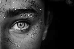 eye, glitter, and black and white image