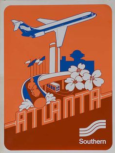 Southern Airways - Atlanta  c.1975    Awesome. And it would be even awesomer if Six Flags would build a log ride that goes through the downtown Westin hotel. I would ride it while wearing a fedora, just like this dude.
