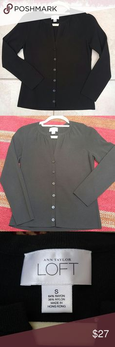 ANN TAYLOR LOFT BLACK LONG SLEEVE CARDIGAN Brand new without tags Size: Small Ann Taylor LOFT  Solid black cardigan with front buttons& long sleeves Material: 64% Rayon 36% Nylon LOFT Sweaters Cardigans
