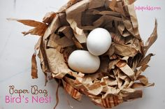Step by Step guide to make Paper Bag Bird's Nest Craft for the 3 cheers for animals journey. Daisy Scouts Journey
