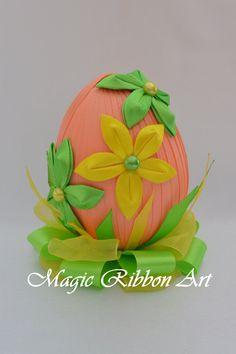 Easter eggs Easter Decoration Foam Easter egg Decorated eggs easter table decoration Easter basket Spring decor Kanzashi flower Easter egg