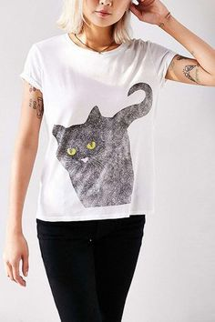 White Short Sleeve Cat Print Chic T Shirt @ T Shirts,Tee Shirts,Womens T Shirts,Funny T Shirts,Cheap Tee Shirts,Graphic T Shirts,Casual T Shirts,Cool T Shirts,Leopard Print T Shirts,Print T Shirts,Khaki T Shirts,Designer Black,White T-Shirt,Street Fashion T-Shirts and More for Sale