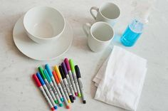 Great idea for kids! Buy a ceramic white plate (dollar store) and let the kids make a picture with sharpie pens, then bake @350 for 30 minutes. PS, Mr. Clean Magic eraser will take off any unbaked sharpie mistakes. Cut a small piece off and use tweezers for a tiny eraser, or use the whole sponge to erase an entire design until perfect enough to bake on permanently.I HAVE TO DO THIS!