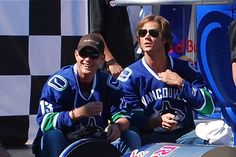 Jared Padalecki and Jensen Ackles - Pre-Soap Box Derby..... At least they like hockey. Not the right teams but you can't be too picky