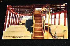 Cool 1908 Lake Minnetonka Streetcar Boat INTERIOR, Minnesota Vintage Postcard