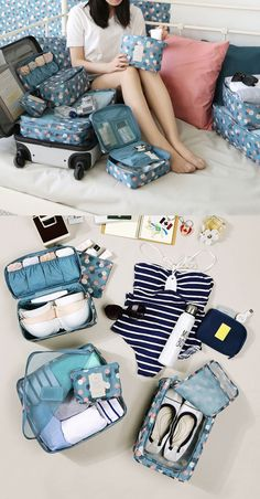 This travel pouch is perfect for carrying travel items, like toiletries, makeups, underwears and many others! The various pockets are perfect for organizing the items. Suitcase Packing Tips, Packing Tips For Travel, Travel Essentials, Packing Hacks, Travel Items, Travel Luggage, Travel Bags, Travel Organization, Organizing