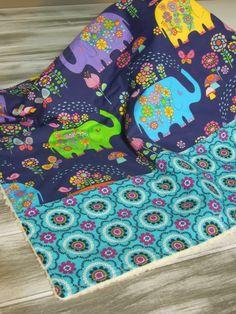 Plush fleece Baby Blanket/Modern Quilt - girl - boho funky vintage flowers and elephants - navy, purple, green, teal, orange on Etsy, $37.00