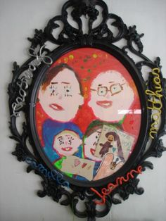 Portrait de famille! Crafts For Kids, School, Frame, Day, Decor, Presents, Father's Day Diy, Family Portraits, Arts Plastiques