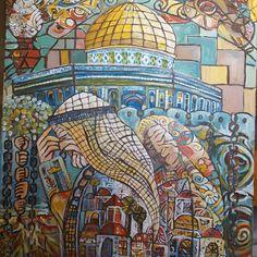 By the artist Nawal Abdulrahim Palestine History, Palestine Art, Baghdad Iraq, Palestinian Embroidery, Jerusalem Israel, Arabic Art, Holy Land, Islamic Art, Folk Art