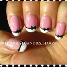 Bow tie nail polish design cute if softer pastel color