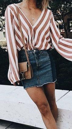 #summer #outfits / striped shirt + denim skirt