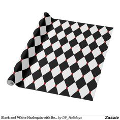 Black and White Harlequin with Red Accents Wrapping Paper - A popular black and white harlequin pattern with red oval accents throughout makes a beautiful wrapping paper for gifts any time of year. It looks especially nice tied with red ribbon. Sold at DP_Holidays on Zazzle.