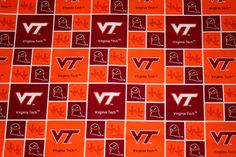 Virginia Tech Fabric, College Fabrics, NCAA Fabrics, 3/4 Yard Continuous Piece, Sykel #VT020, Quilting Fabric, Craft fabrics by HandmadebyShelia on Etsy