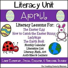 April Themed Literacy Unit for K-2nd, Special Education & Home Schooled Children.  Use with the Literature: The Easter Egg, To Catch the Easter Bunny, Ladybugs, & The Earth Book. Fun seasonal activities include: April  Calendar & Writing Station; Literacy Worksheets, Art Projects; Classroom & Student Booklets; Bunny Make A Word Game; Eggs Ten Frame Match; Ladybug  Real & Nonsense Words; Earth Day  Greater Than,  Less Than or Equal To Clip Game.  Kids have some holiday fun whi
