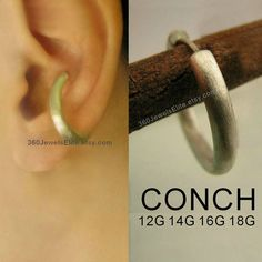 Large Conch Earring - Gauge piercing earring for men - 925 Sterling Silver Hoop - Etsy ear cartilage conch or helix Conch Earring, Helix Earrings, Cuff Earrings, Silver Hoop Earrings, Daith Ear Piercing, Cartilage Hoop, Septum, Conch Hoop, Sterling Silver Hoops