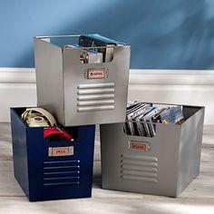 Locker style storage bins - Perfect for Jamesons new room :) | PBteen