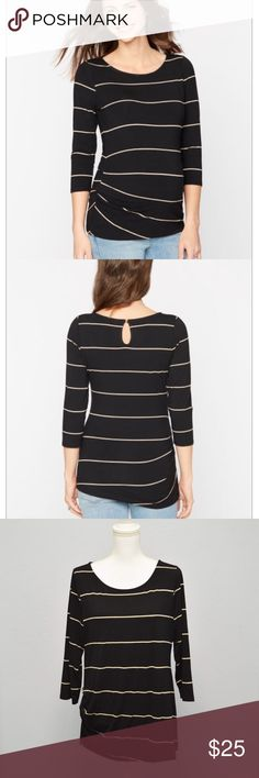 A pea in the pod maternity black striped top sz L Great quality Flattering top with soft thick fabric that doesn't show through. Boat neck and side pleats, key hole closure at the back. 3/4 sleeves  Sz L In excellent condition. A Pea in the Pod Tops