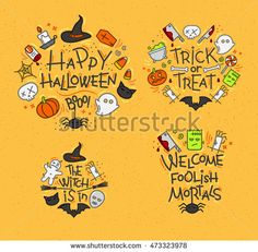 Set of halloween color monograms drawing in flat style on mustard background.