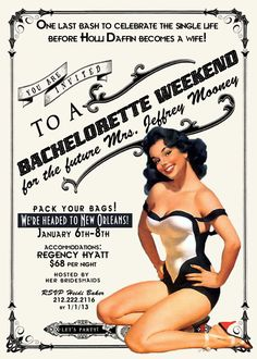 Vintage Pin Up Girl Invitation Bachelorette by InvitingParties, $15.99