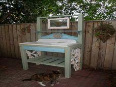 Gardening & Landscaping : Old Potting Bench With Sink Potting Bench with Sink Outside Sink . Potting Bench With Sink, Potting Bench Plans, Potting Tables, Garden Projects, Wood Projects, Garden Ideas, Garden Art, Backyard Ideas, Outdoor Garden Sink