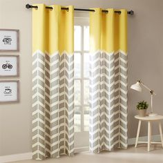 Yellow Curtains Intelligent Design Alex Chevron Printed Grommet Top Panel Pair How to Make Curtains {DIY Tri-colorblock Curtains Living, Room Darkening Curtains, Drapes Curtains, Modern Curtains, Valances, Grey Lined Curtains, Velvet Curtains, Bedroom Curtains, Grommet Curtains