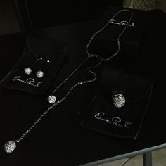 Erwin Pearl- 3 pc Neckless, earring & ring Erwin Pearl- Gorgeous gunmetal color w/ stones. Drop earrings long self tie Necklace and ring sz7 Erwin Pearl Jewelry Rings