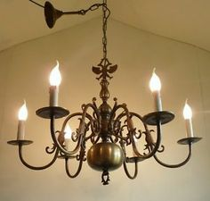 french ceiling lights | VINTAGE FLEMISH CHANDELIER BRASS FRENCH FARMHOUSE CEILING LIGHT | eBay