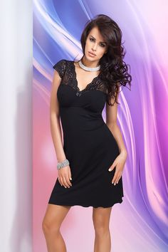 Donna Black Lace Trim Cap Sleeve Night Dress, Ladies Sleepwear.