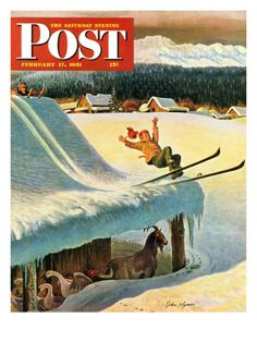 """""""Barn Skiing"""" Saturday Evening Post Cover, February 17, 1951 Giclee Print by John Clymer at Art.com"""